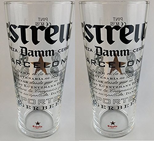two-estrella-damm-pint-glasses-set-of-2