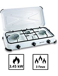 Encimera de gas (3450W 3lámparas–blanco brillante