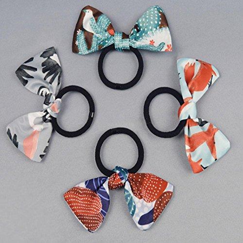 QCBC 4 Stück Haar Scrunchies Bobbles Elastische bunte scrunchy Haar Bands Krawatten, Elegant Retro Style