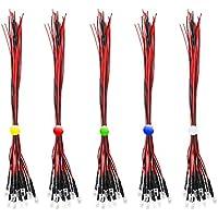 RUNCCI-YUN 50pcs color mezclado 5mm 12V LEDs pre cableado,DIY Car Boat Juguetes Flashing Partes