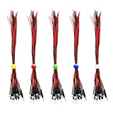 RUNCCI 50pcs color mezclado 5mm 12V LEDs pre cableado,DIY Car Boat Juguetes Flashing Partes