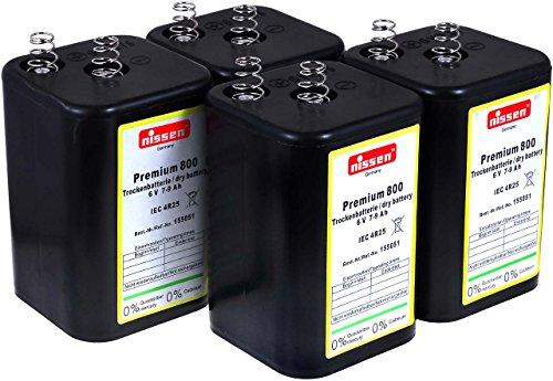 4R25 6V-Blockbatterie Ersatz für Nissen Laternenbatterie IEC 4R25 (Nissen 6V-Block 4er Set) (6v Ersatz-akku)