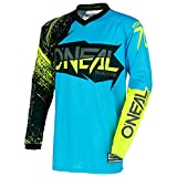 O'Neal Element Burnout MX Motocross Jersey Trikot Shirt Enduro Offroad Motorrad Cross Erwachsene, 0008, Farbe Blau Hi-Viz Gelb, Größe L