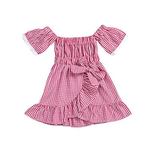 Rüschen-wolle Pullover Kleid (Mädchen Kleid Babykleidung, YanHoo Kleinkind Baby Mädchen Schulterfrei Plaid Print Kleid Spitze Rüschen Kleider Kleidung (12M-5T) Kinder Strap Plaid Printed Bow Lace Rock Kleid)
