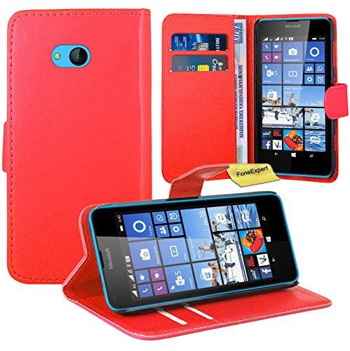 Microsoft Lumia 640 Handy Tasche, FoneExpert® Wallet Case Flip Cover Hüllen Etui Ledertasche Lederhülle Premium Schutzhülle für Microsoft Lumia 640 / 640 Dual SIM (Rot)