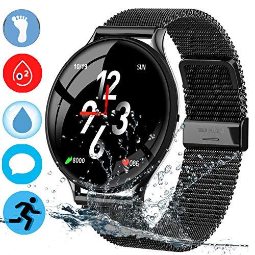 Imagen de yenisey fitness tracker correa de malla impermeable reloj deportivo pulsera inteligente con actividad de ritmo cardíaco seguimiento de la presión arterial monitor de sueño fitness batería ultra larga