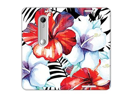 etuo Motorola Moto G3 - Hülle, Handy Flip Case - Exotische Blumen