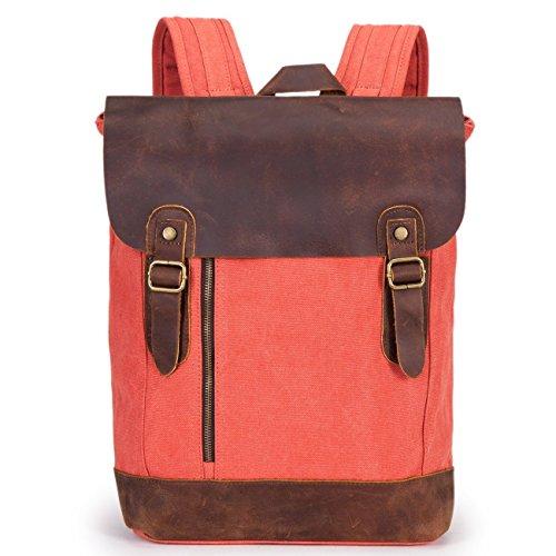 Minetom Damen Herren Studenten Vintage Retro Canvas Leder Rucksack Schultasche Reisetasche Daypacks Uni Backpack 15 Zoll Laptoprucksack Für Outdoor Sports Freizeit (Rot)