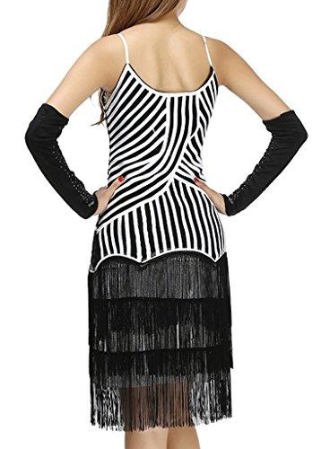 Eyekepper Robe Contraste Couleur Robe de danse latine Femme/Demoisellele blanc-noir