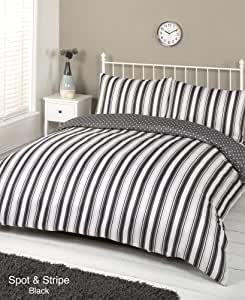Spot and Stripe Black White Grey Polka Dot Single Duvet Quilt Cover Bedding Set