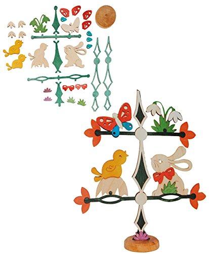 Unbekannt Holz Bastelset - Friesenbaum / Baum / Dekobaum - Osterhase mit Blumen - zum Basteln - komplett ausgesägt Natur Ostern Osterei / Ei Osternest Frühling Osterdek..