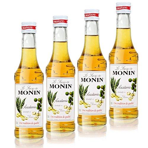 4x Monin Macadamia Sirup, 250 ml Flasche