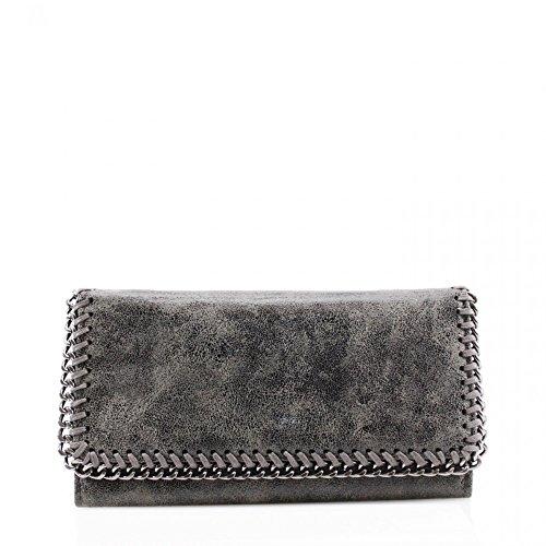Preisvergleich Produktbild LeahWard® Damen Synthetik Leder Kette Klappe Geldbörsen Brieftasche Für Sie Zum Damen(D.Grau)