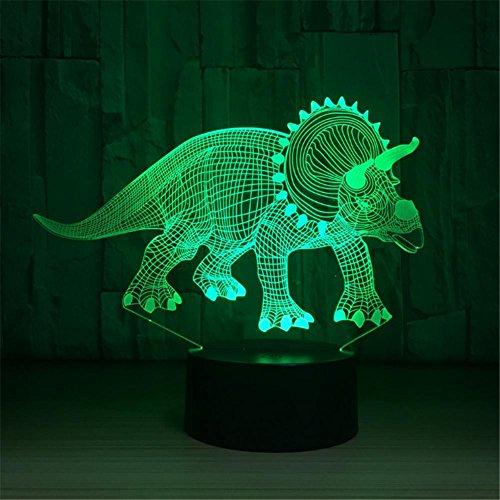 3D Lampe LED Nachtlicht Optische Täuschung 7 Farbwechsel USB Touch-Taste Und Intelligente Fernbedienung Schreibtisch Tischbeleuchtung Schönes Geschenk Home Office Dekorationen Spielzeug (Gehörnter Dinosaurier)