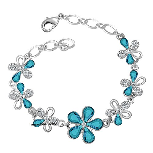 Oviya Rhodium Plated Exquisite Floral Link Bracelet with Crystal Stones BR2100298RBlu