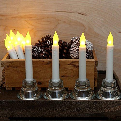 Velas Led, juego de 12 velas LED de conicidad, amarillo parpadeo bombillas, con pilas para la decoración del hogar para fiestas y fiestas, cumpleaños, fiestas, bodas (1 Pack)