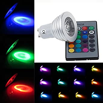 Bloomwin Ampoule LED GU10, 10pcs 4W RGB Multicolore Changement 16 Couleurs Ambiance d'éclairage avec Telecommande Décoration Hôtels Clubs Maison Chambre