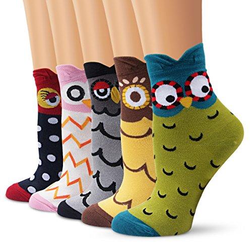 Ambielly calcetines de algodón calcetines térmicos Adulto Unisex Calcetines (5 Búho)