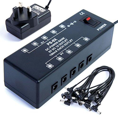DC9 - Fuente de alimentaci?n para hasta 10 pedales de afectos de guitarra (9 V, incluye cableado)