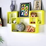 Yellow Wooden Interlocked Wall Shelves