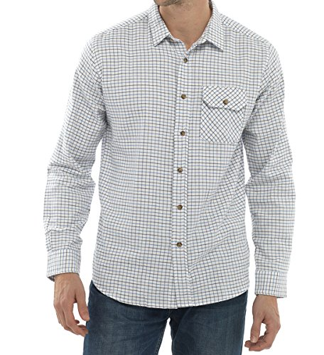 Blau Tattersall Check (Herren Walter Grange 100% Baumwolle Classic Tattersall Check langärmelige Shirt Gr. L, Blau - Checks: Blue)