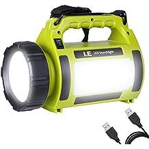 LE 1000lm LED Handscheinwerfer wiederaufladbare Akkulampe dimmbar 10W 3 Lichtmodi 2 Helligkeitsstufen 3600mah Powerbank Handlampe USB-Kabel inkl. IPX4 Wasserdicht Strahler Arbeitsleuchte ideal für Camping Outdoor
