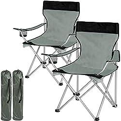 TecTake Chaise de Camping Fauteuil Pliable avec Porte-Boisson et Sac de Transport - diverses Couleurs et quantités au Choix - (2X Noir-Gris   no. 401248)