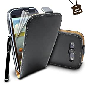 Premium Stylish Protective 100% REAL GENUINE COW LEATHER FLIP CASE POUCH COVER HOLDER WALLET FOR Samsung Galaxy S3 i9300 + Includes STYLUS PEN + SCREEN PROTECTOR (Black)