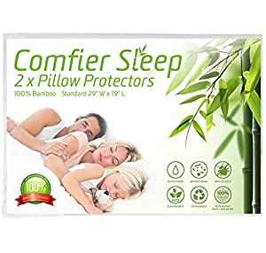 Comfier Sleep Waterproof Pillow Protectors with Zip Anti Allergy and 100% bamboo Pack of 2 suitable for Luxury Pillows