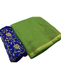 High Glitz Fashion Women's Party Wear Green Color Chanderi Cotton Sarees For Women Latest Design Sarees New Collection...