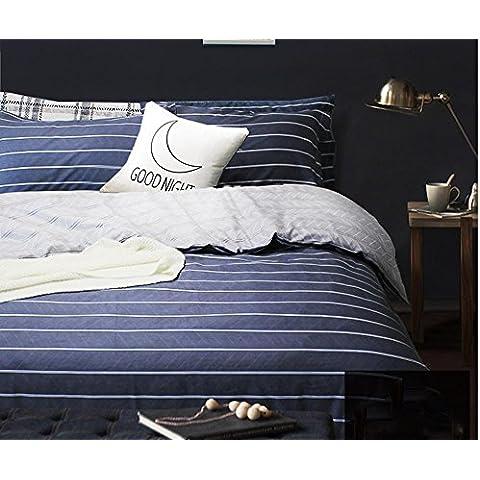 XIAOMINZI Letto semplice Consolatore grinza & resistenti allo sbiadimento Stripe Set 4 pezzi set copripiumino lenzuola cotone morbido lenzuolo Set, foglio componibile & piatto & federe , 1.2m (4 feet) bed