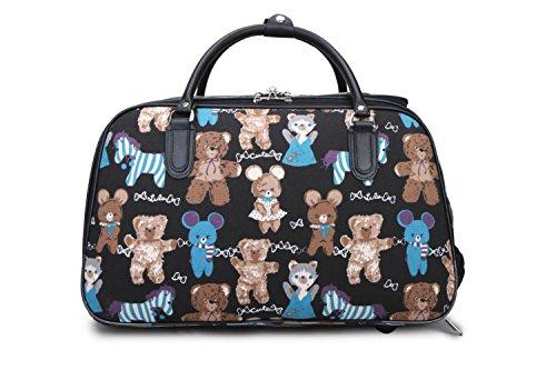 LeahWard® Damen Eule / Schmetterling Drucken Reisetasche Reisetasche Handgepäck Damen Wochenende Handtasche Auf Rädern Wagen CWS00308 CWS00308C Schwarz 49 x 31 x 26.5 cm