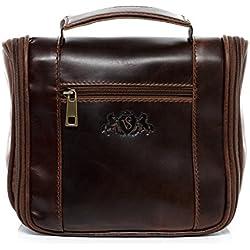 Maleta de mano de piel genuina color marrón - bolsa de aseo para viaje