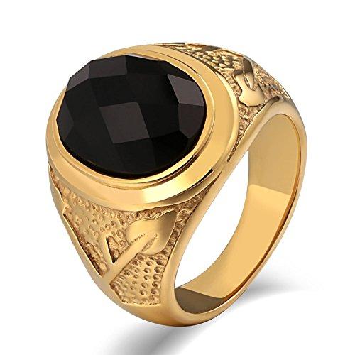 ahl Ring Herren Pfeil mit Zirkonia Oval Breite 20 MM Freundschaftsring Gold Ring Gr. 60 (19.1) (Grüner Pfeil Anzug)