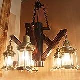 Bois Branche Comptoir Couverture Suspension abat-jour en verre Corde chanvre American Loft Restaurant Suspension Lampes (5têtes)