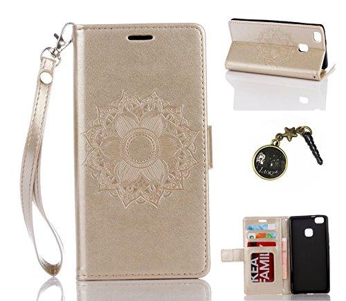 Preisvergleich Produktbild für Smartphone P9 Lite Hülle,Hochwertige Kunst-Leder-Hülle mit Magnetverschluss Flip Cover Tasche Leder [Kartenfächer] Schutzhülle Lederbrieftasche Executive Design +Staubstecker (1SS)