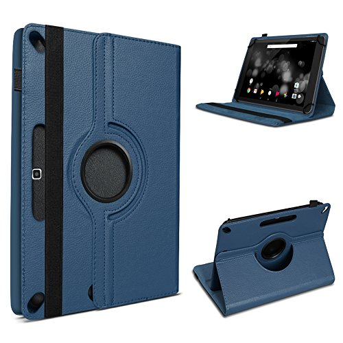 UC-Express Robuste Schutzhülle für Ihr Amazon Fire HD 10 Tablet aus Kunstleder mit Standfunktion 360° Drehbar Hülle Schutztasche Ständer Tasche Cover Case Etui, Farben:Blau
