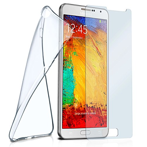 moex Silikon-Hülle für Samsung Galaxy Note 3 Neo | + Panzerglas Set [360 Grad] Glas Schutz-Folie mit Back-Cover Transparent Handy-Hülle Samsung Galaxy Note 3 Neo Case Slim Schutzhülle Panzerfolie