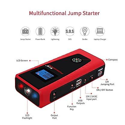 512SAkyyzYL. SS416  - Arrancadores De Coche 12000mAh 600A Emergencia Bateria Kit Arranque para 12V 4.0L Gasolina & 2.0L Diesel Con Pinzas Inteligentes, Pantalla LCD, LED, USB Puertos para Emergencia Smartphones