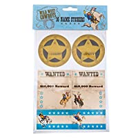 Neviti Wild West Cowboys Birthday Party Name Sticker Pack