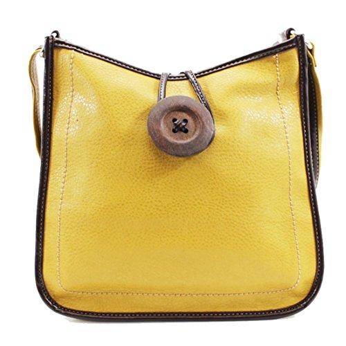 Ydezire® tracolla da donna in finta pelle con bottone, borsa da donna a tracolla Yellow