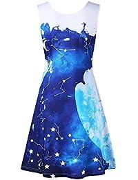 Rosegal Robe Femme A-Line sans Manche col U Imprimée imprimée à Lacets et  Galaxie 7fc32f5de77c