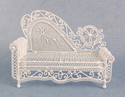 Melody Jane Puppenhaus Miniatur Möbel weißer Draht Schmiedeeisen Chaiselongue Sofa