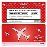 Save the Date Karten zur Hochzeit (20 Stück) - Flugticket Motiv in Rot