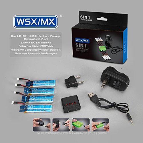 Bluelover 4 in 1 caricatore 3.7V 520MAH 30C Lipo batteria per WLtoys V977 V930 XK K110