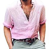 Youthny Herren Jungen Leinen Hemd Shirt Langarm V-Ausschnitt mit Knopfleiste Einfarbig Langarmshirt T-Shirt