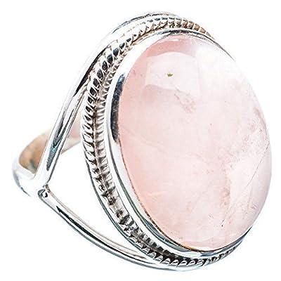 Bague faite main en argent massif serti de roses de quartz, taille 925, de la taille 44 à 68 FR