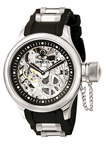 Invicta 1088 Russian Diver Herren Uhr Edelstahl mechanisch schwarzen Zifferblat