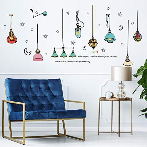 Dekorative Farbe Kronleuchter Wandaufkleber Wohnzimmer Schlafzimmer Sofa Hintergrund Fenster Cartoon Kreative Mode 60X90 cm -