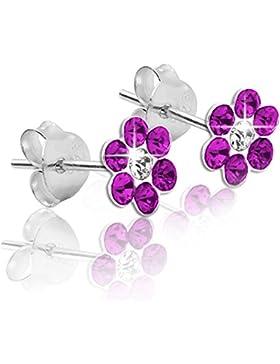 1 Paar Soul-Cats® Ohrstecker Ohrringe 925 sterling Silber Blume rot weiß grün blau pink Kinder